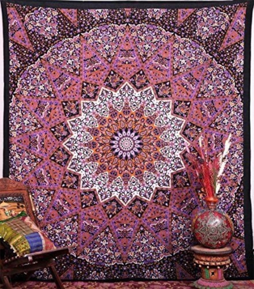 Image of: Mandala Tapestry Sun Moon Bedspread Queen Cotton Luxury Sun And Moon Bed Set