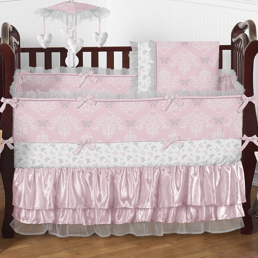 Image of: Pink Crib Bumper Style Infant Crib Bumper Bed Pink Bedding Sets Queen Ideas