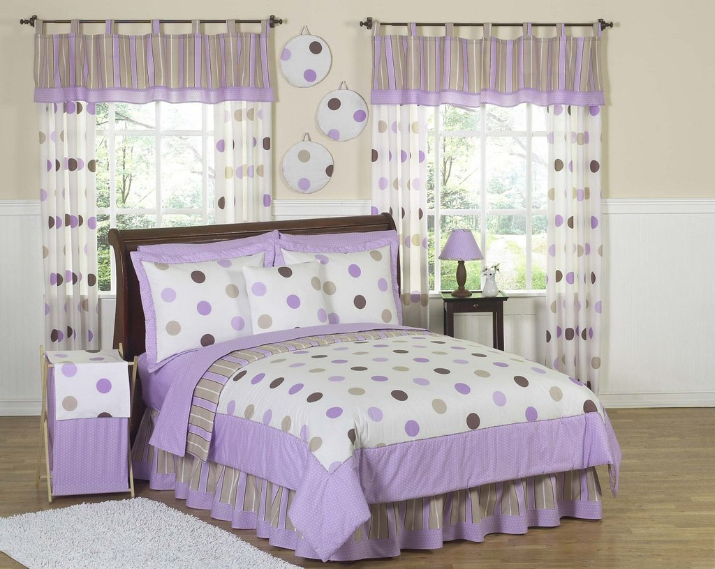 Image of: Purple Brown Polka rcle Bedding Twin Full Queen Restyle Kids Bedding Sets for Girls
