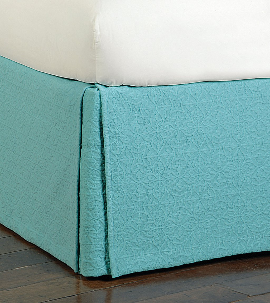 Image of: Teal Bed Skirt 28 Image Eleanor Teal Twin Bed Skirt All About Natori Bedding