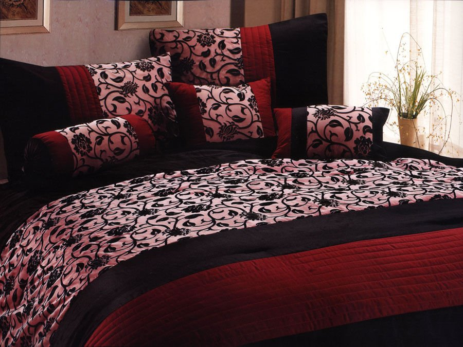 Image of: 7 Pc Classy Floral Motif Comforter Set Burgundy Black Goth Brief Article Teaches You the Ins and Outs of Gothic Bedding and What You Should Do Today