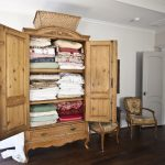 Antique White Linen Armoire