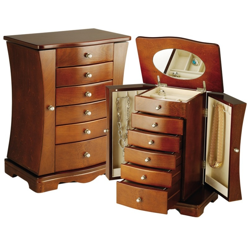 Brown Modern Jewelry Armoire