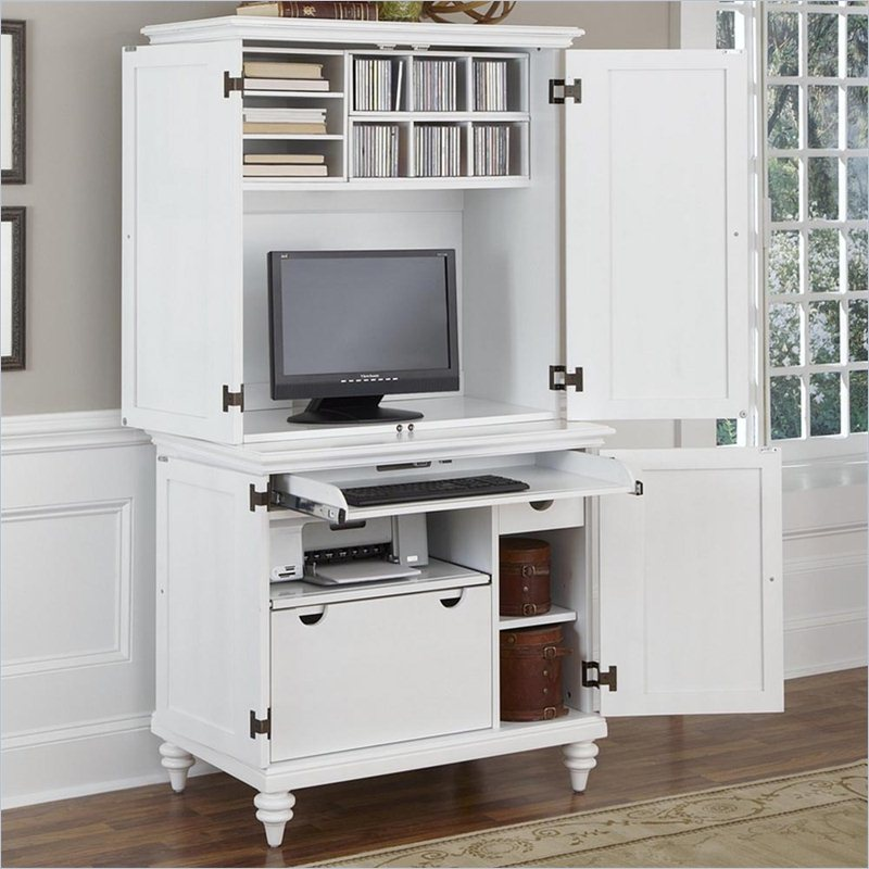 Image of: White Computer Armoire