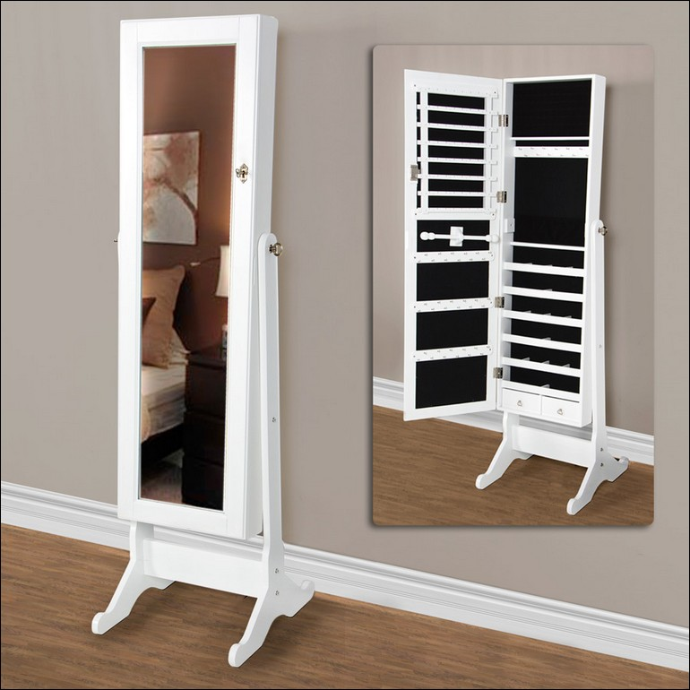 White Stand Up Mirror Jewelry Armoire