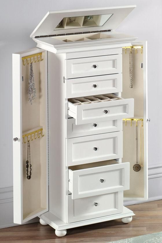 White Tall Jewelry Armoire