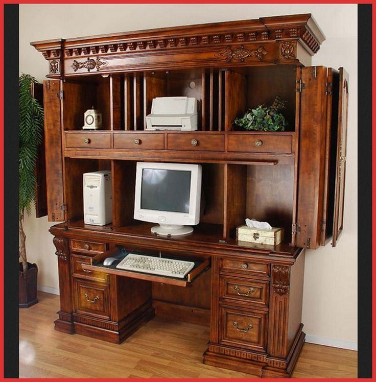 Wood Computer Cabinet Armoire