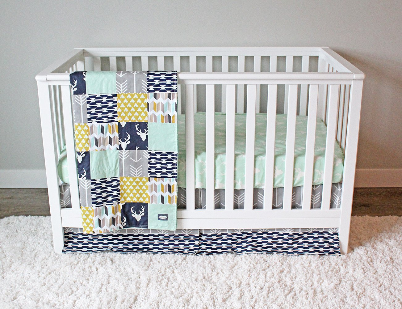 Image of: Beautiful Mint Navy Bedding