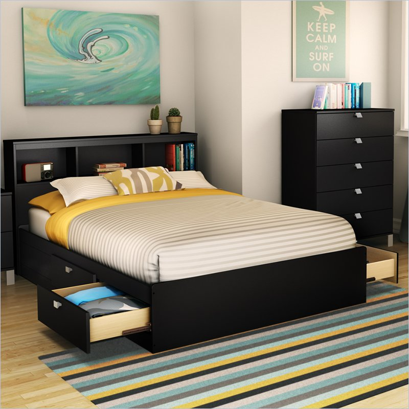 Image of: Black Full Bed Drawers