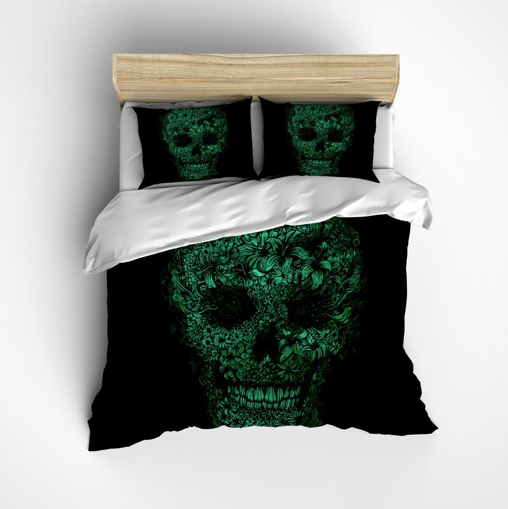 Image of: Black Green Floral Skull Bedding Ink Rag The Space Available for Queen Size Skull Bedding Sets