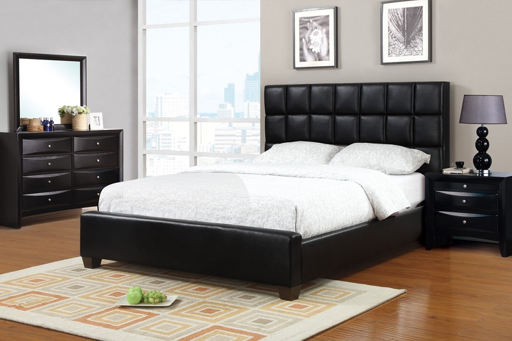 Image of: Black Leather Bed