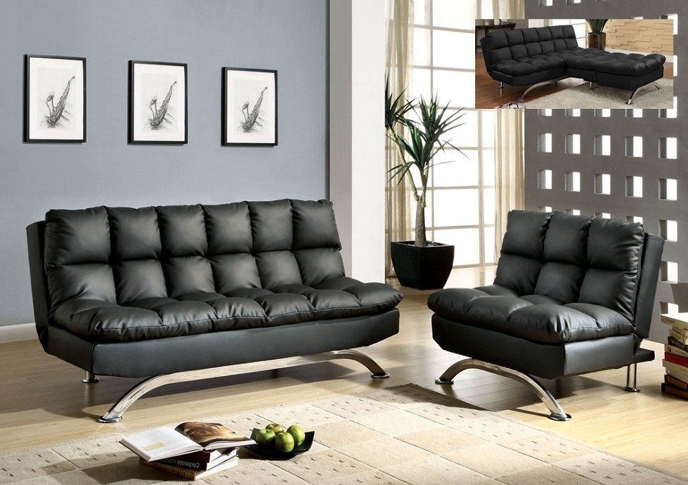 Image of: Black Leather Futon Sofa Bed