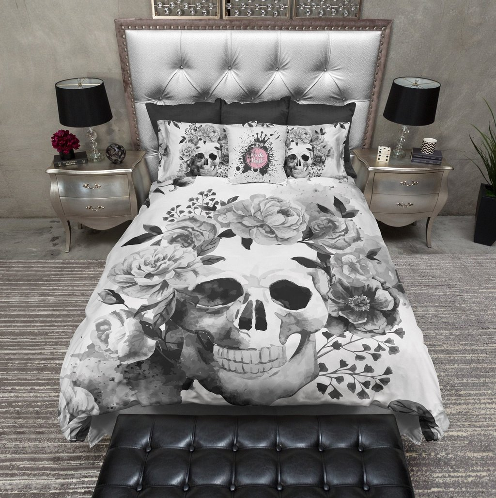 Image of: Black White Watercolor Skull Bedding Ink Rag Brief Article Teaches You the Ins and Outs of Gothic Bedding and What You Should Do Today