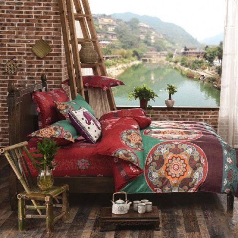 Image of: Bohemian Bedding Sets Boho Blue Midnight Sun Moon Star Duvet Bedding Sets Cliab Boho The Space Available for Queen Size Skull Bedding Sets