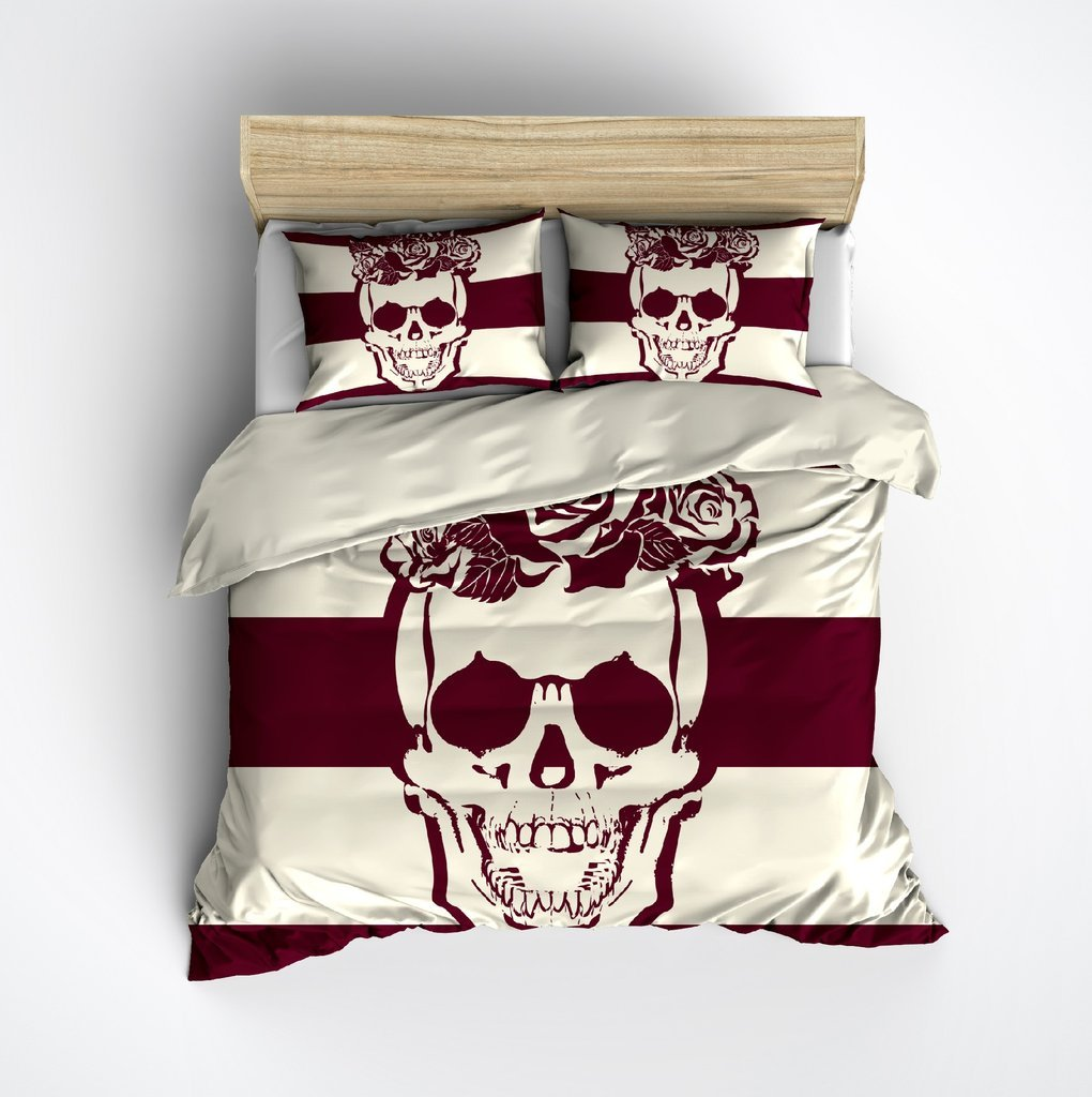 Image of: Burgundy Cream Stripe Skull Duvet Bedding Set Ink The Space Available for Queen Size Skull Bedding Sets