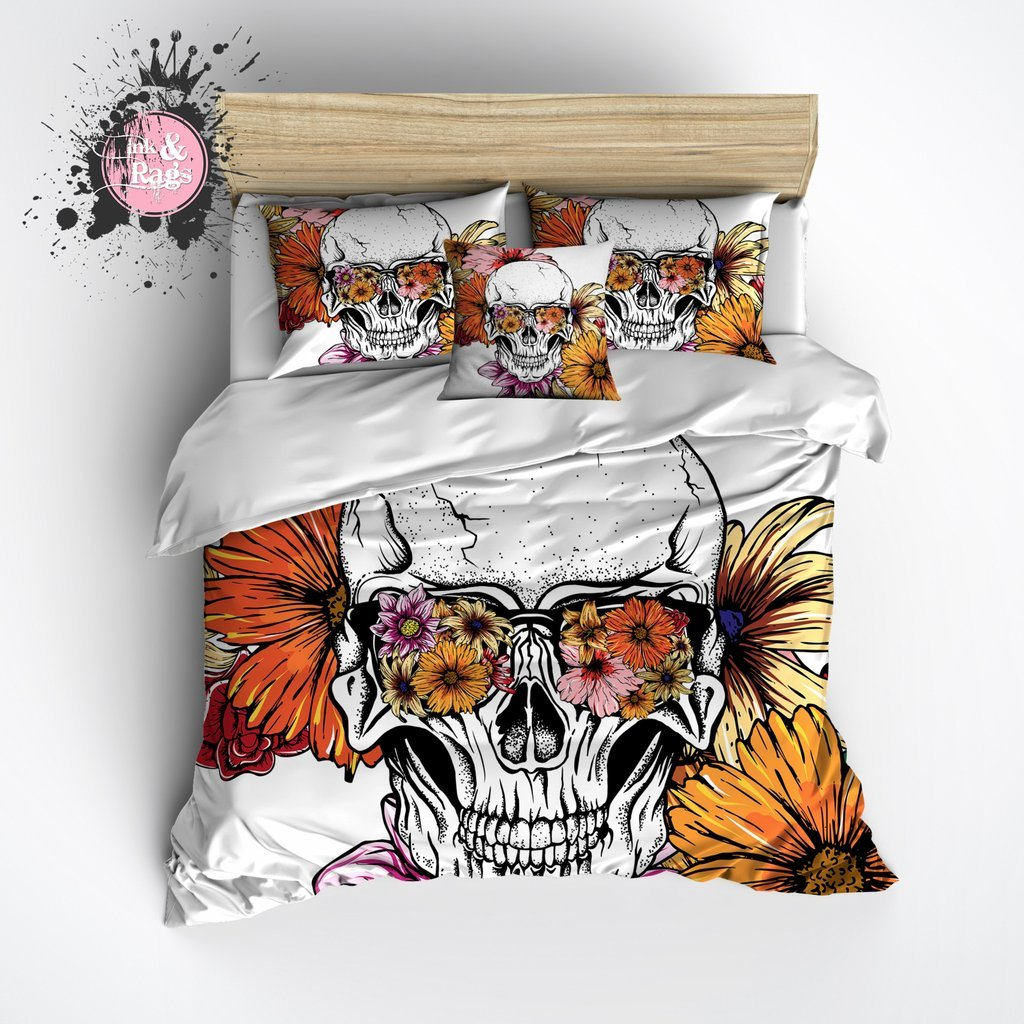 Image of: Daisy Ray Ban Floral Skull Duvet Bedding Set Ink Rag The Space Available for Queen Size Skull Bedding Sets