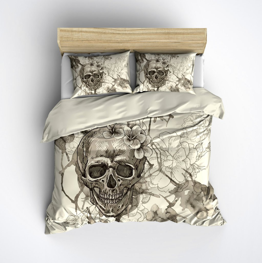 Image of: Featherweight Beige Skull Bedding Sugar Skull Inkandrag The Space Available for Queen Size Skull Bedding Sets