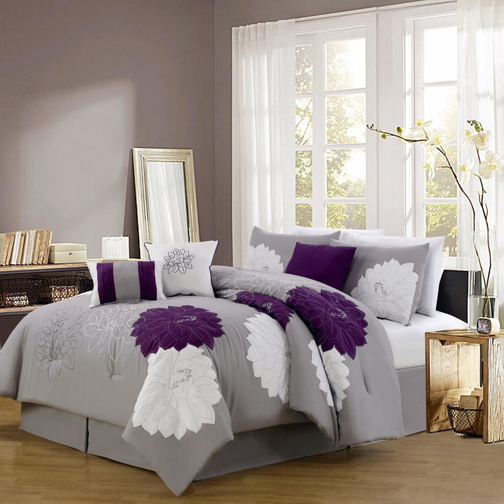 Grey And Purple Bed Sets