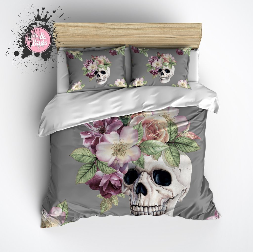 Image of: Grey Floral Crown Skull Duvet Bedding Set Ink Rag The Space Available for Queen Size Skull Bedding Sets