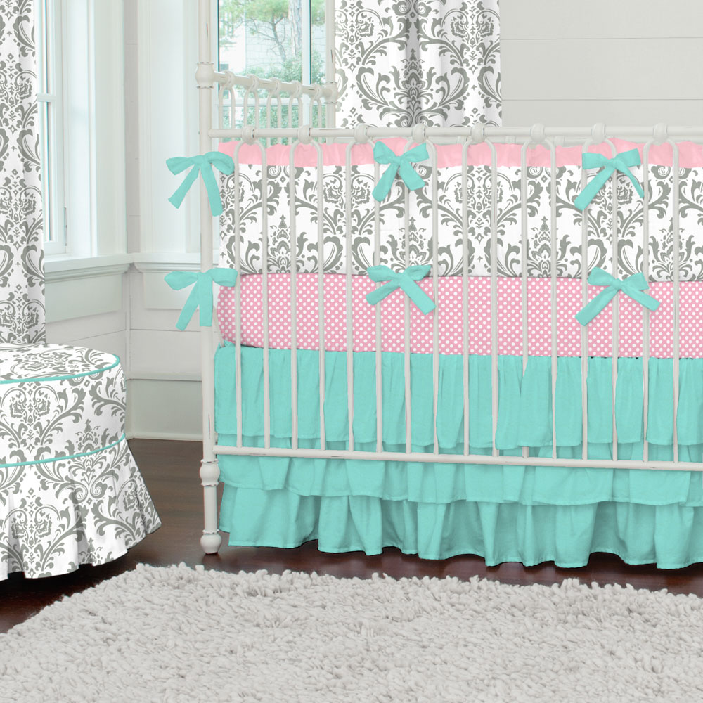 Image of: ink and Teal Baby Bedding