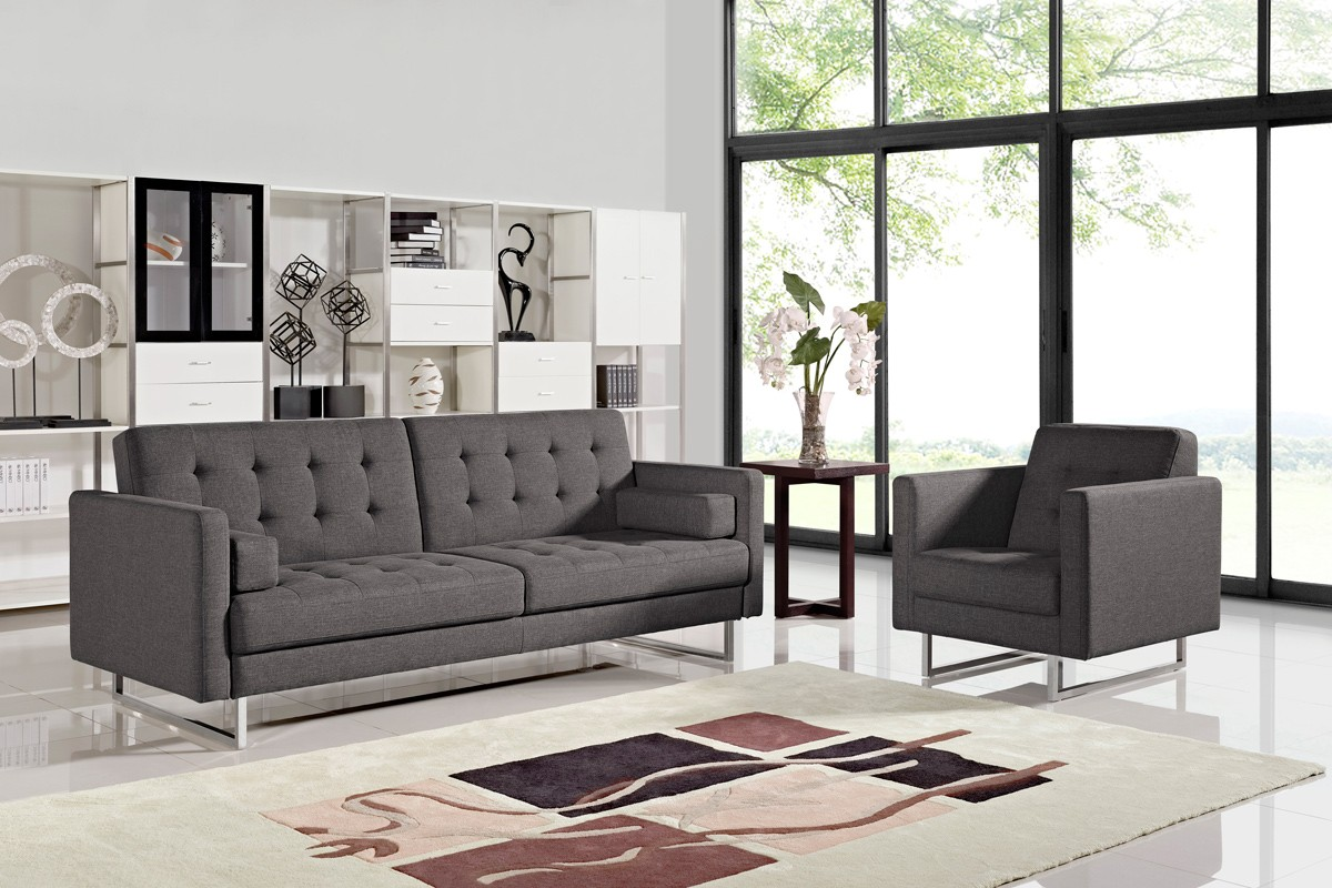 Image of: Modern Grey Fabric Sofa Bed