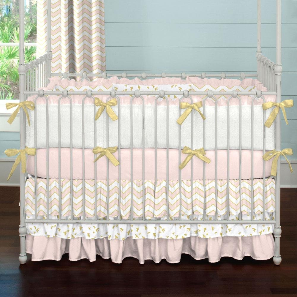 Image of: Pale Pink Gold Chevron 3 Piece Crib Bedding Set The New Angle On Chevron Crib Bedding Just Released