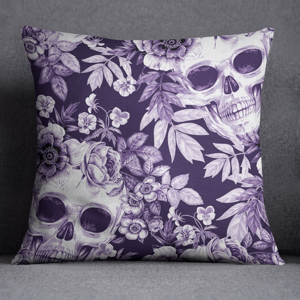 Image of: Purple Print Floral Skull Bedding Ink Rag The Space Available for Queen Size Skull Bedding Sets