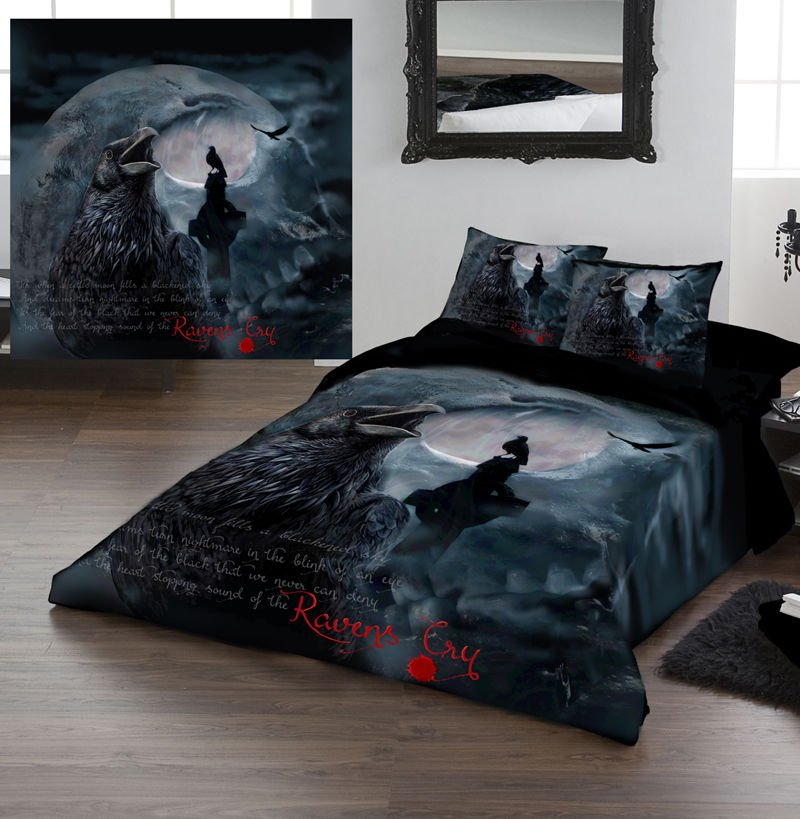 Image of: Raven 39 Cry Duvet Cover Set Kingsize Bed Artwork The Space Available for Queen Size Skull Bedding Sets