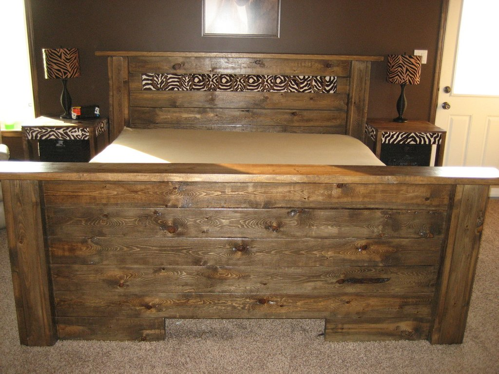 Rustic Wood Panel Bed Queen 0 Diy Large Queen Bed Frame Side Drawer Storage Bed Frame And Headboard Set For The Elegance Bedroom