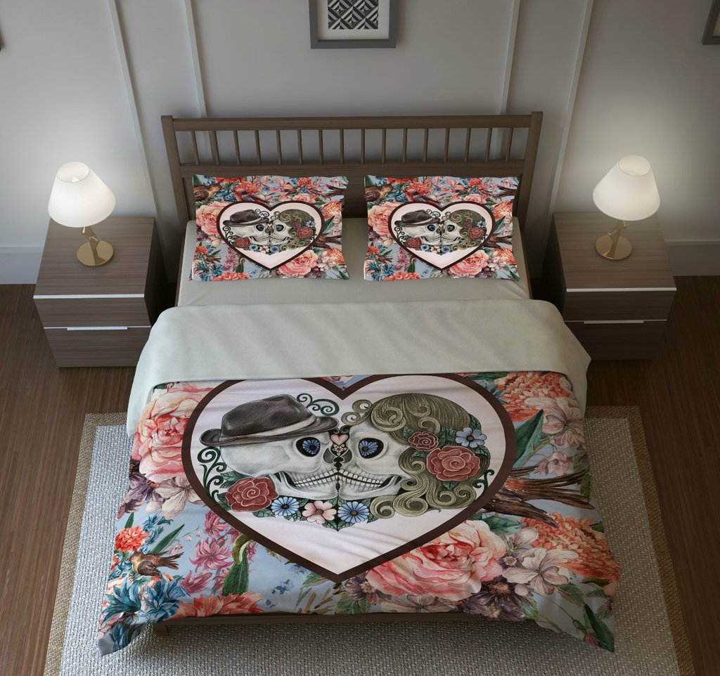 Image of: Skull Bedding Sugar Skull Duvet Cover Set The Space Available for Queen Size Skull Bedding Sets