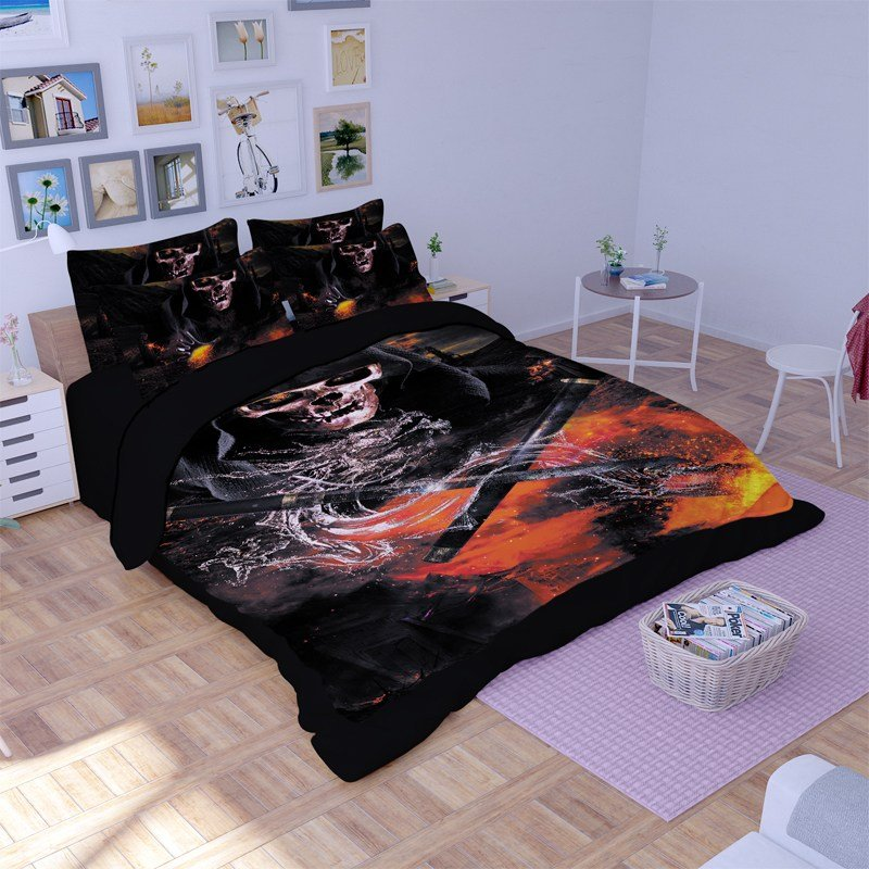Image of: Skull Comforter Set Home Design Idea The Space Available for Queen Size Skull Bedding Sets