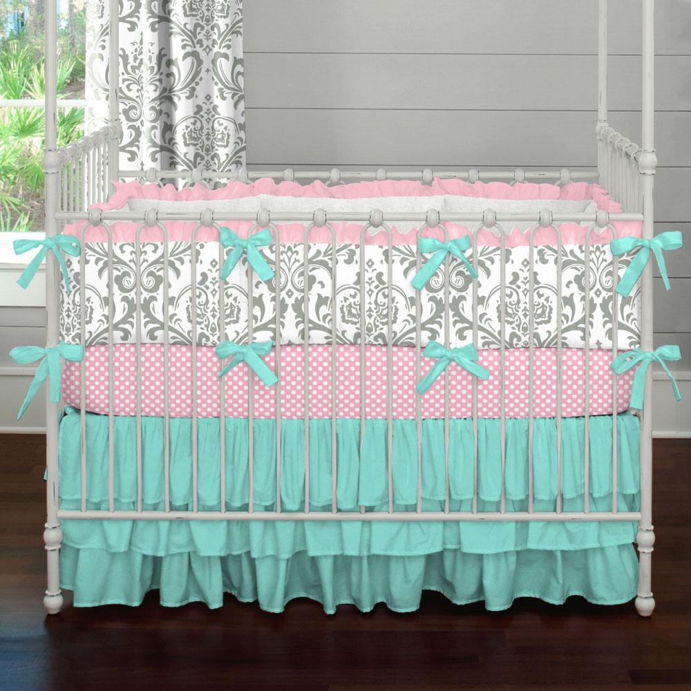 Image of: Solid Navy Traditional Collection Baby Crib Bedding Newborn Pink and Teal Baby Bedding 2018