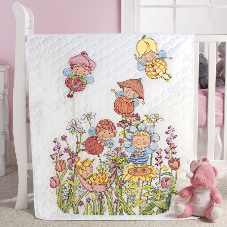 Image of: Garden Fairies Cross Stitch Baby Quilts