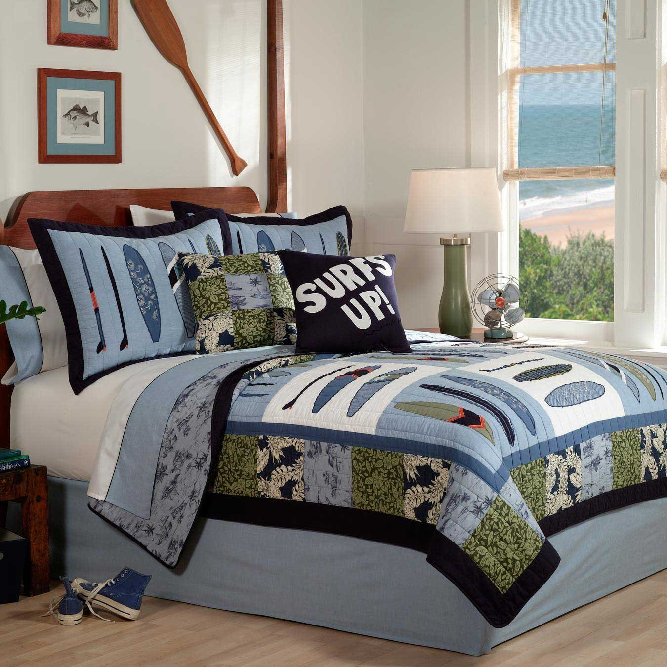 Image of: Boy Style Nautical King Quilt Set