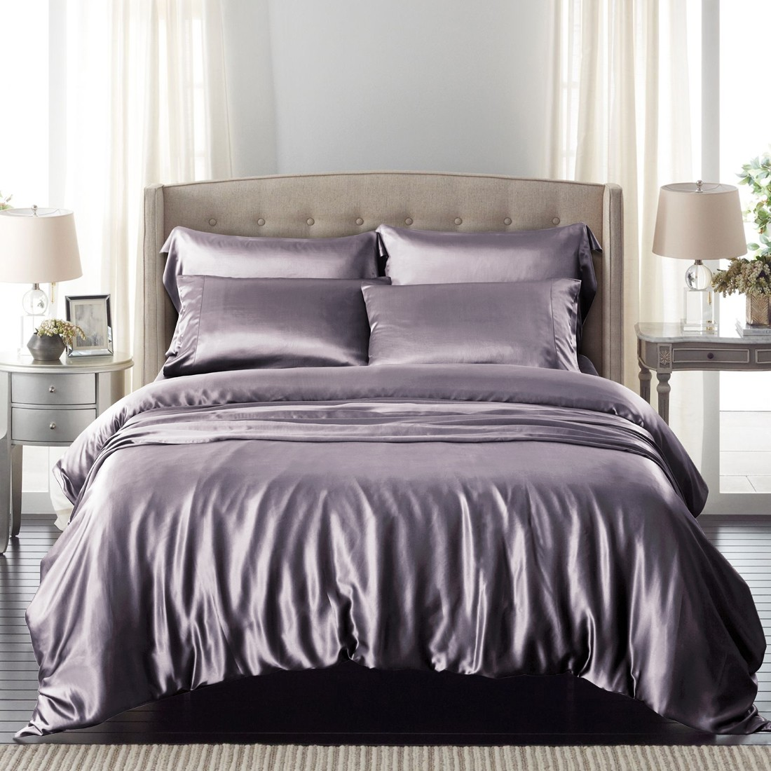 Image of: Charcoal Grey Silk Bedding Sets