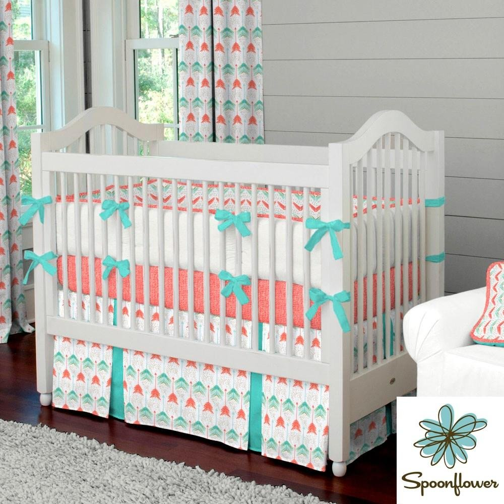 Image of: Coral Teal Arrow Fabric Yard Coral Fabric Carousel Design Black and White Crib Bedding Set