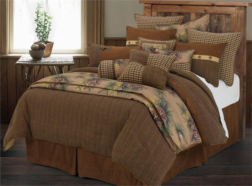 Image of: Crestwood Pine Cone Rustic Comforter Set Full Awesome Rustic Bedding Sets