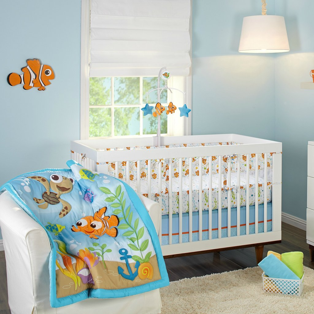 Image of: Finding Nemo Crib Bedding Decorate House Black and White Crib Bedding Set