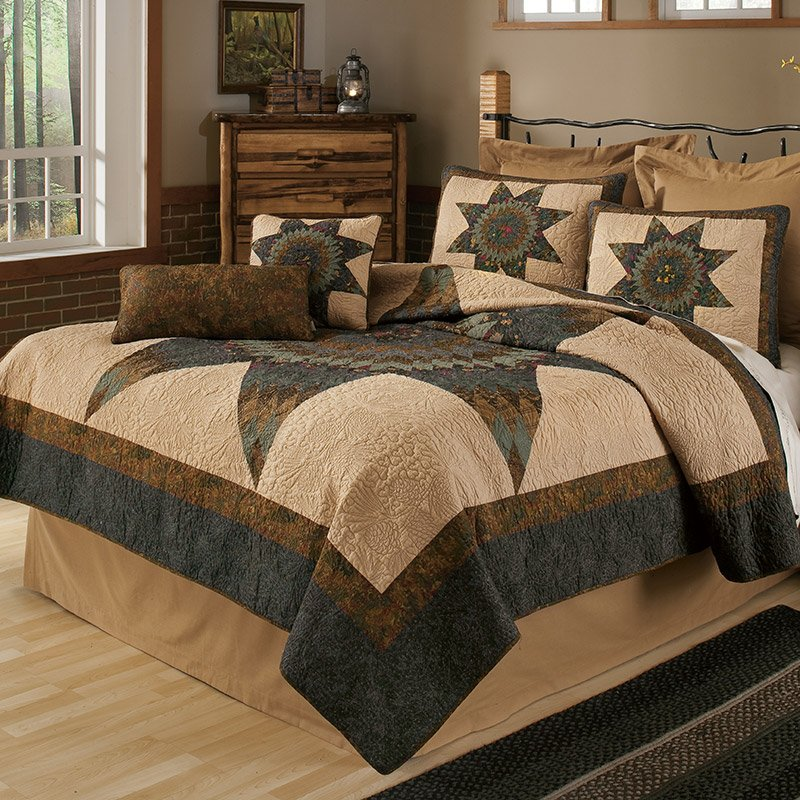 Image of: Forest Star Quilt Awesome Rustic Bedding Sets