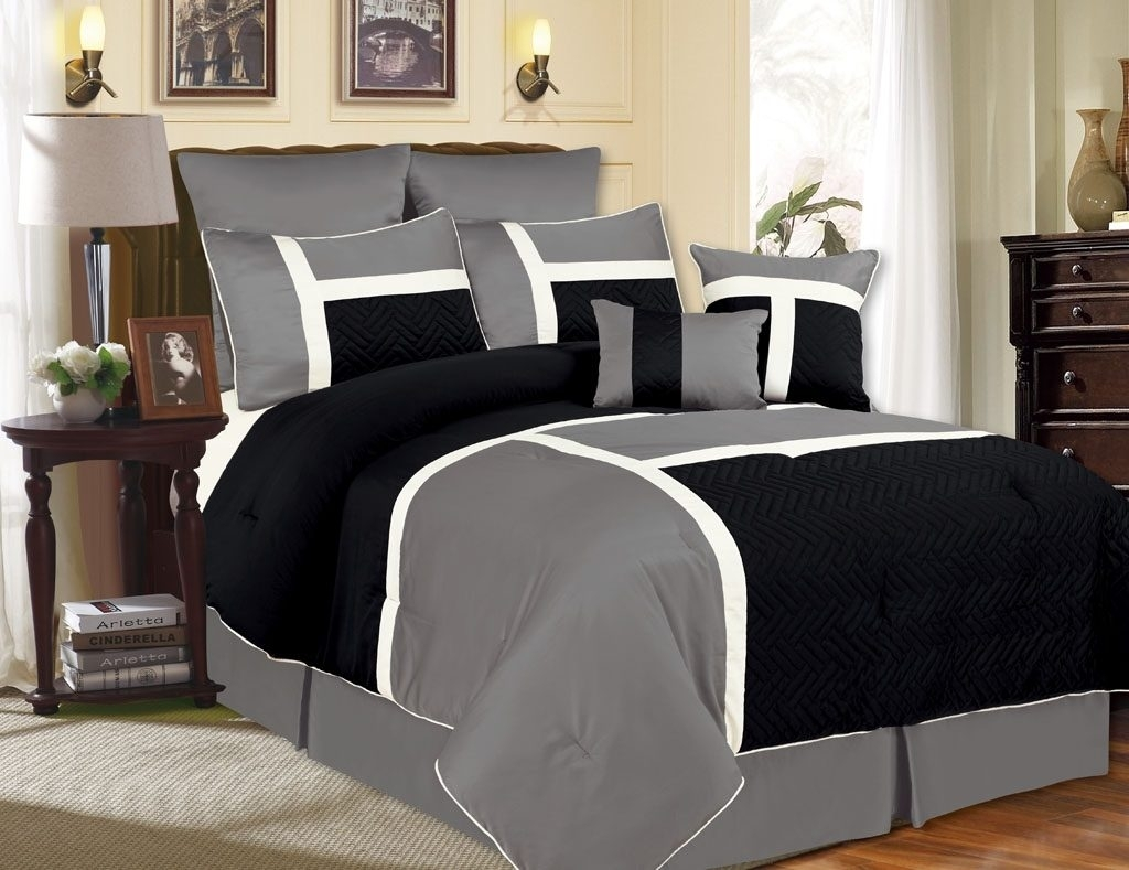 Image of: Gray And Black Bedding Combine