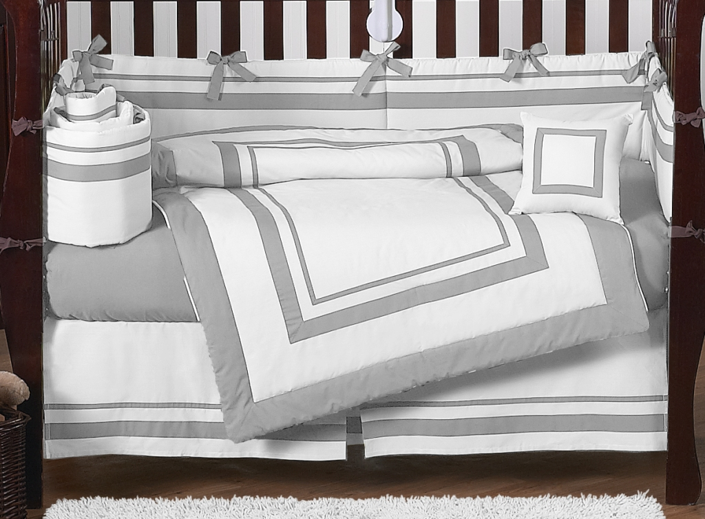 Image of: Grey And White Crib Bedding