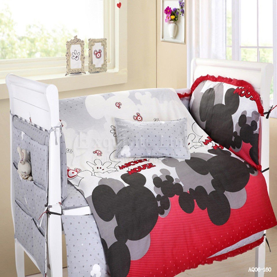 Image of: Mickey Mouse Crib Bedding Disney Mickey Mouse Crib Bedding Black and White Crib Bedding Set