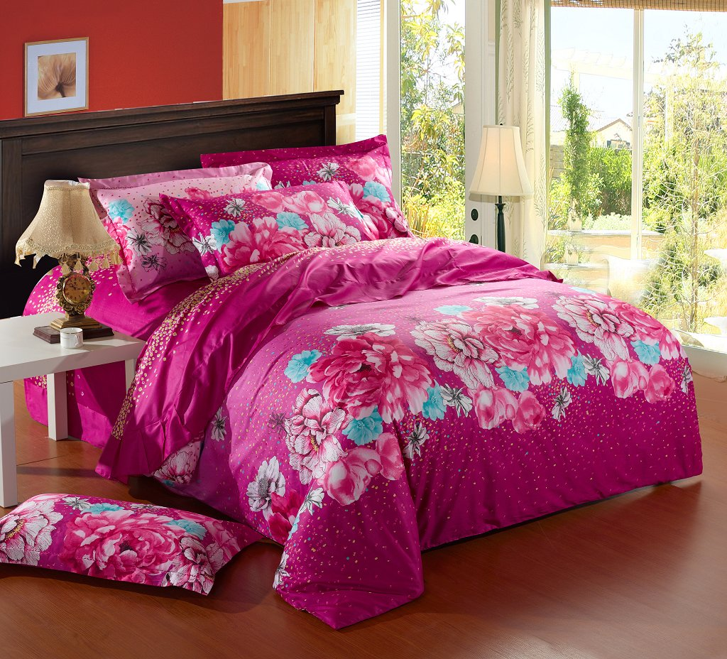 Image of: Pink Flowers Bedding