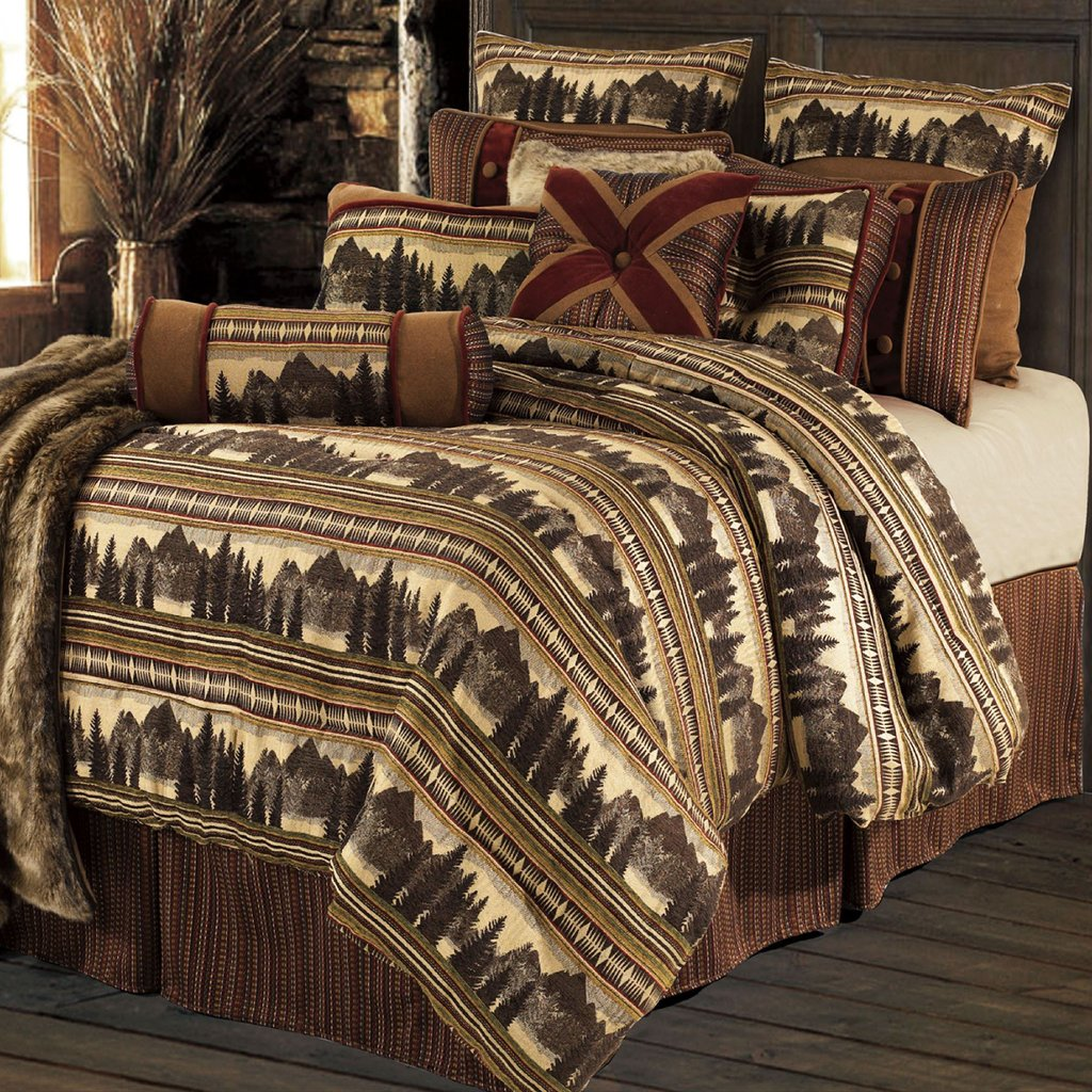 Image of: Rustic Bed Set Crestwood 4 5 Pc Rustic Comforter Bed Set Gatlinburg Rustic Faux Leather Awesome Rustic Bedding Sets