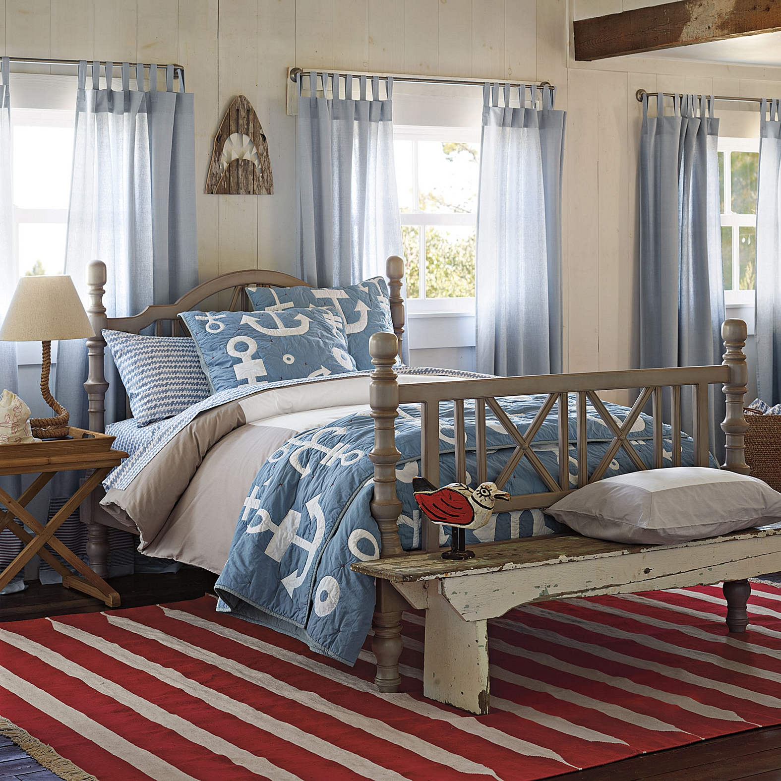 Image of: Rustic Nautical King Quilt Set
