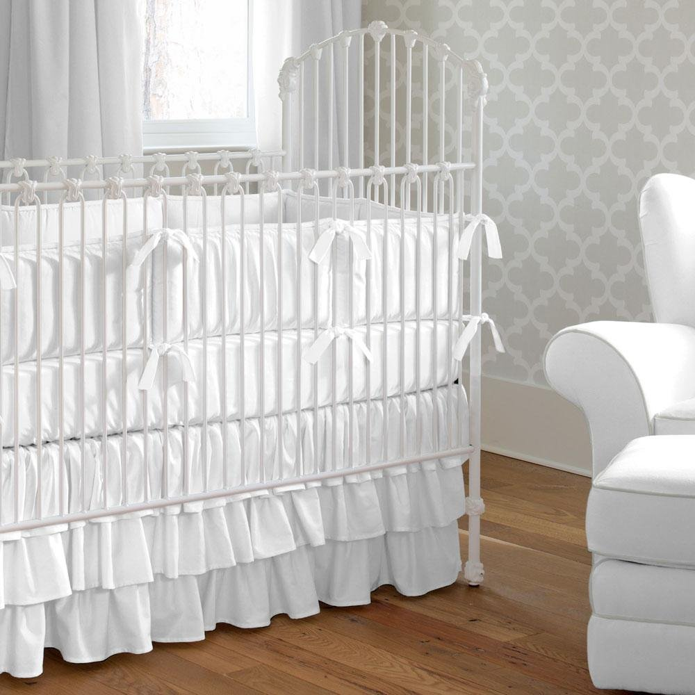 Image of: White Baby Bedding Solid White Crib Bedding Carousel Design Black and White Crib Bedding Set