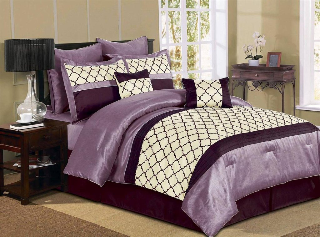 Image of: 8 Pc Luxury Microfiber Comforter Set Park Ave Queen King Ideas Purple Bedding Sets Queen