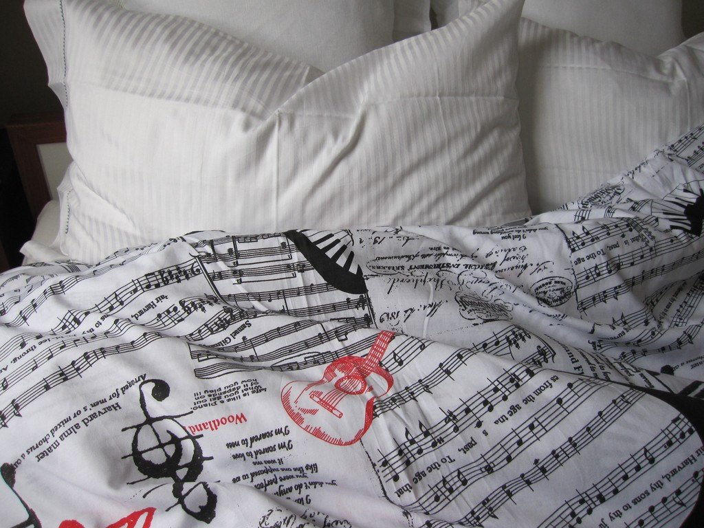 Image of: Book Bedding Sheet Music Note Guitar Print Duvet Cover Twin Themed Music Note Bed Set