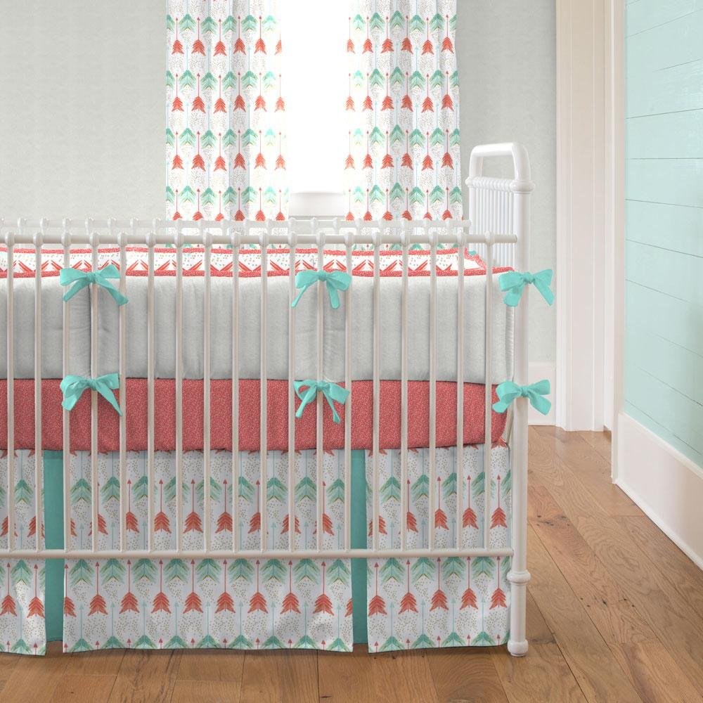 Image of: Coral Teal Arrow Crib Bedding Carousel Design Coral Baby Bedding and Accessories