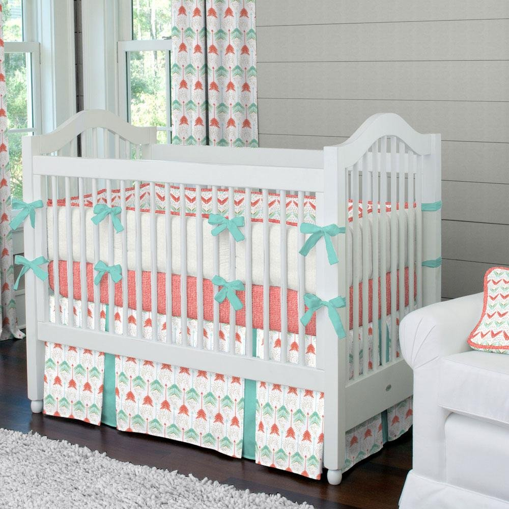 Image of: Coral Teal Arrow Crib Bumper Carousel Design Coral Baby Bedding and Accessories